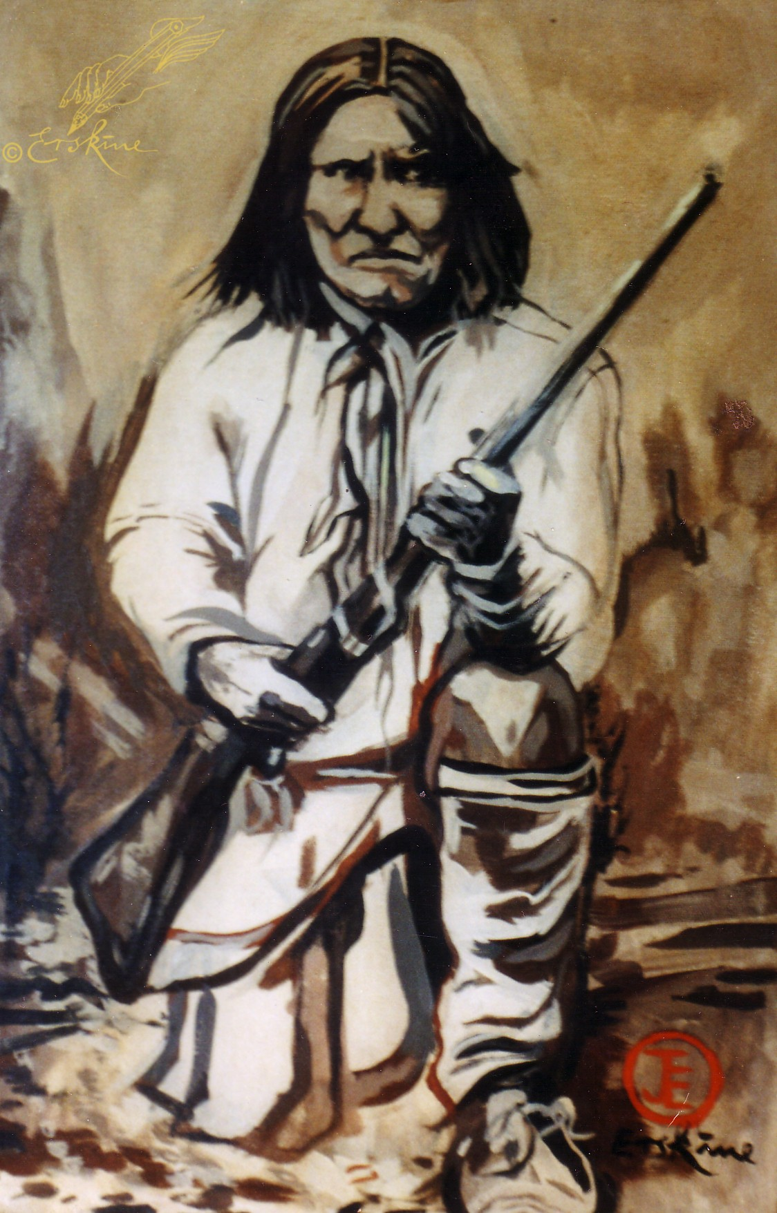 Geronimo, apache chief. oil on canvas, .8x.6