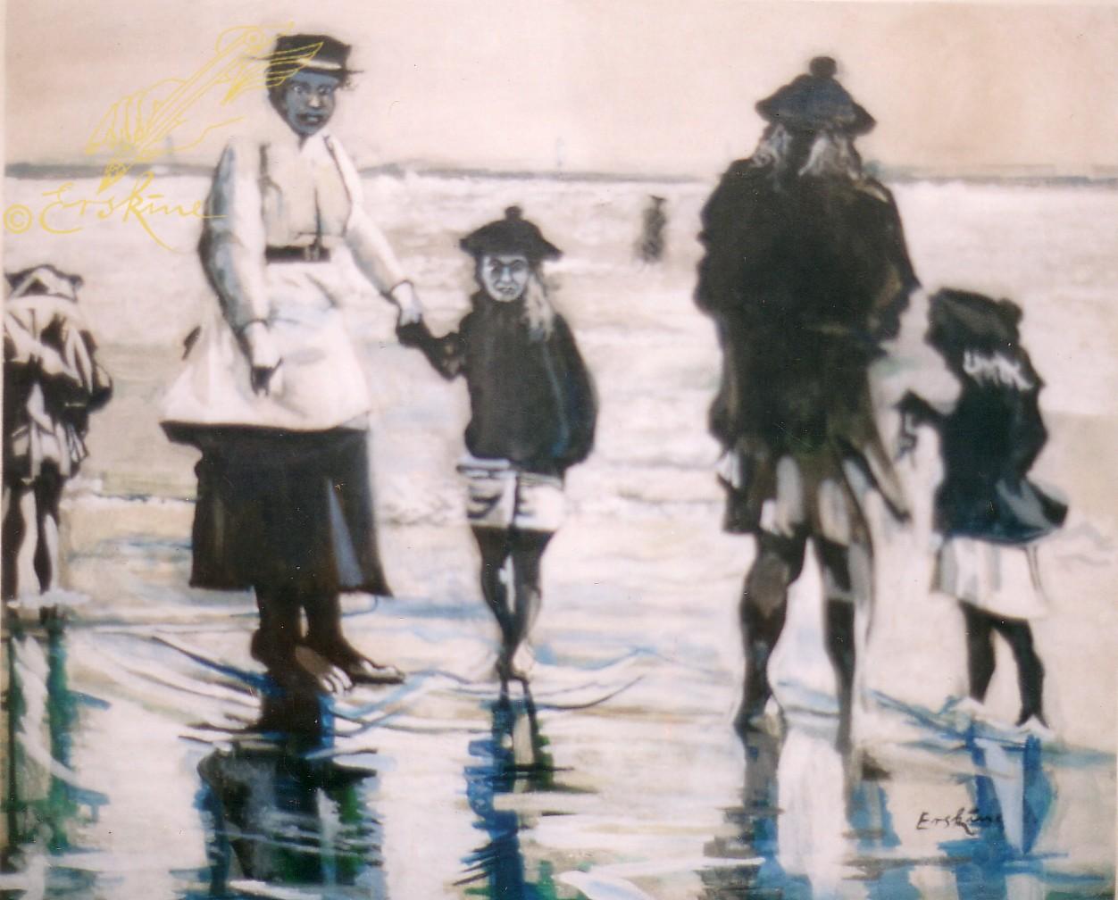 Wet feet, oil on canvas, 1.4x1.2m